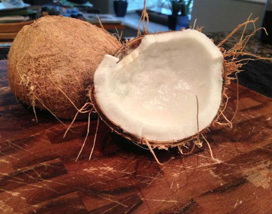 raw coconut halve